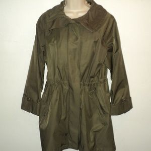 Hilary Radley Size M Brown Trench Coat Hooded